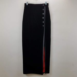 Escada Velvet Long Black Lined Skirt